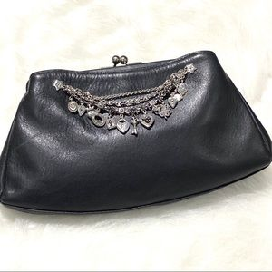 Brighton Leather Black Clutch With Charms